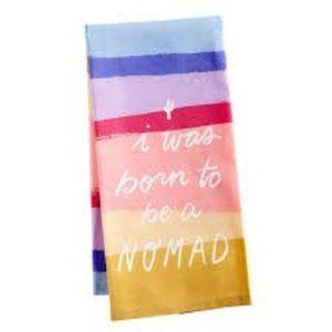 Pier 1 tea dish towel 'born to be a nomad' cactus